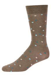 120 Units of Men's Bamboo Nylon Spandex Crew Dress Socks In Dot Khaki - Mens Dress Sock