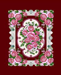 4 Units of Millennium Queen Maroon Floral Queen Blanket - Fleece & Sherpa Blankets