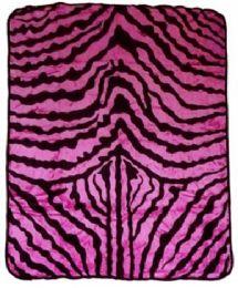 4 Units of Pink Zebra Printed Millenium Queen Blanket - Fleece & Sherpa Blankets