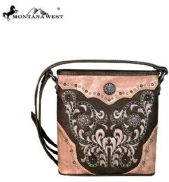 4 Units of Montana West Concho Collection Crossbody Coffee - Handbags