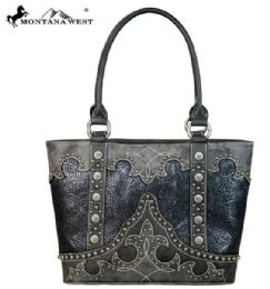 2 Units of Montana West Tooled Collection Tote Black - Handbags