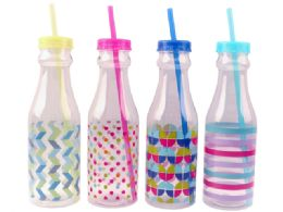 24 Units of Water Bottle With Straw - Drinking Water Bottle