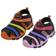 24 Units of Children's Rainbow Strip Upper Velcro Sandals - Girls Shoes
