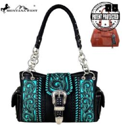 2 Units of Montana West Buckle Collection Concealed Carry Satchel Black - Handbags