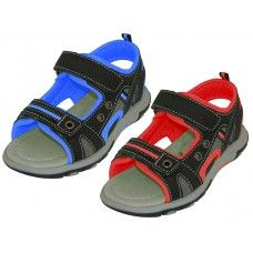 24 Units of Youth's Velcro Strap Sandals - Boys Flip Flops & Sandals