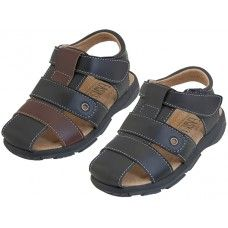 24 Units of Boy's Pu. Leather Upper Velcro Sandals - Boys Flip Flops & Sandals