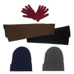 144 Units of Unisex Winter Gloves, Scarf, Beanie in 5 Assorted Colors - Bundle Care Sets