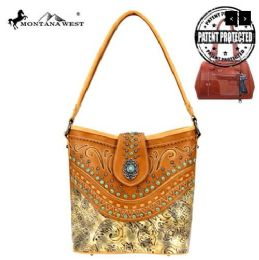 2 Units of Montana West Concho Collection Concealed Carry Hobo In Brown - Handbags