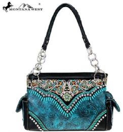 2 Units of Montana West Embroidered Collection Satchel In Torquoise - Handbags