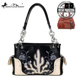 2 Units of Montana West Embroidered Collection Concealed Carry Satchel Black - Handbags