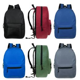 "24 Units of 17"" Kids Basic Black Backpack In 6 Assorted Colors - Backpacks 17"""