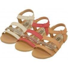 24 Units of Girl's Rhinestone Sandals - Girls Sandals