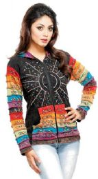 5 Units of Nepal Handmade Cotton Jackets With Hood Rainbow Sequins - Women's Winter Jackets