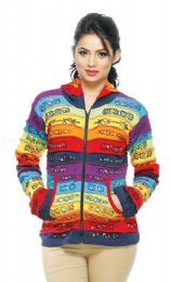 5 Units of Nepal Handmade Cotton Jacket With Rainbow Stripes - Women's Winter Jackets
