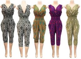 36 Units of Romper with Geometric Print Assorted Colors - Womens Rompers & Outfit Sets