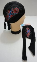 72 Units of Skull Caps Motorcycle Hats Fabric Rebel Flag Bike Print - Head Wraps