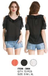 72 Units of Chiffon Cold Shoulder Solid Color Ruffle Tops - Womens Fashion Tops
