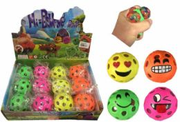 72 Units of Mesh Squish Ball with Water Beads Emoji Face - Slime & Squishees