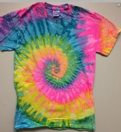 12 Units of Tie Dye T Shirt Pastel Rainbow Assorted Sizes - Girls Tank Tops and Tee Shirts
