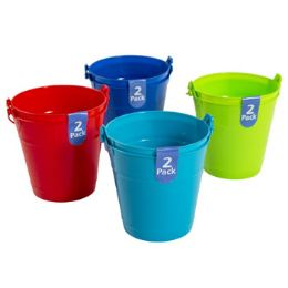 48 Units of 2 Pack Plastic Bucket - Beach Toys