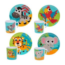 48 Units of Dinnerware Kids Jungle Animal Design - Plastic Bowls and Plates