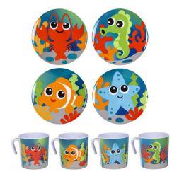 48 Units of Dinnerware Kids Sea Life Design - Plastic Bowls and Plates