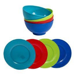 48 Units of Dinnerware Melamine - Plastic Bowls and Plates