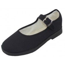 36 Units of Girl's Cotton Upper Mary Janes Canvas Shoe Black Color Only - Girls Shoes