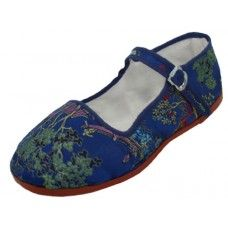 36 Units of Miss Satin Brocade Upper Mary Janes Shoe ( Navy Color Only) - Women's Flats