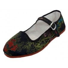 36 Units of Miss Satin Brocade Upper Mary Janes Shoe ( Black Color Only) - Women's Flats