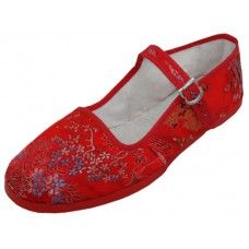 36 Units of Miss Satin Brocade Upper Mary Janes Shoe ( Red Color Only) - Women's Flats