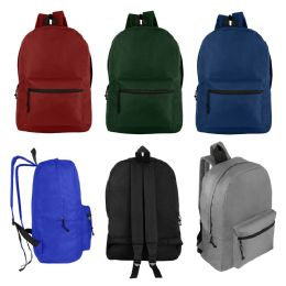 "24 Units of 17"" Wholesale Kids Basic Backpack In 6 Assorted Colors - Backpacks 17"""
