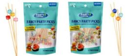 48 Units of Fancy Party Picks 50 Count Mixed Cube Color Tops - Party Paper Goods