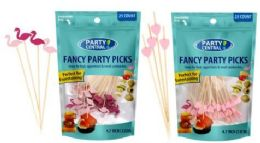 48 Units of Fancy Party Picks 50ct Mixed Flamingo And Heart Color Tops - Party Paper Goods