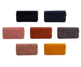 24 Units of Women's Clutch 2 Zipper Wallets In 5 Assorted Leather Colors - Wallets & Handbags
