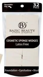 48 Units of Cosmetic Sponge Wedges Latex Free 32 Piece Count, Resealable bag - Eye Shadow & Mascara