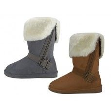 24 Units of Women's Micro Suede Foldover Winter Boots With Faux Fur Lining And Side Zipper - Women's Boots