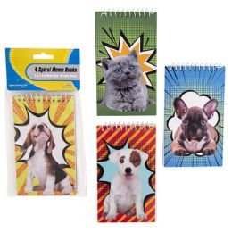 72 Units of Memo Books with Dog and Cat Design - Memo Holders and Magnets
