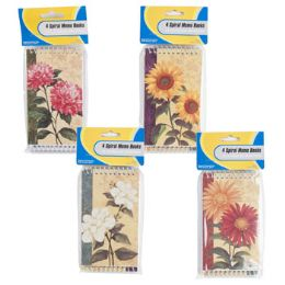 72 Units of 4 Pack Floral Pattern Memo Books - Memo Holders and Magnets