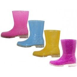 24 Units of Toddler's Water Proof Soft Rubber Rain Boots - Girls Boots