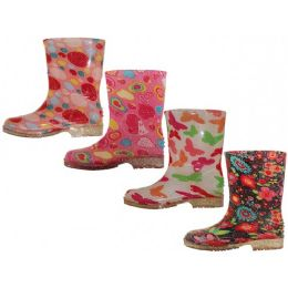 24 Units of Children's Water Proof Soft Rubber Rain Boots - Girls Boots