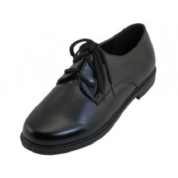 12 Units of Youth's Black School shoes With Lace Upper - Boys Shoes