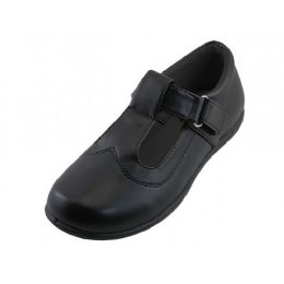 24 Units of Big Girl's T-Velcro With Buckle Upper Black School shoe - Girls Shoes