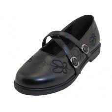 24 Units of Big Girls X-Strip Top Black School Shoe - Girls Shoes