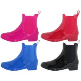 24 Units of Women's 6.5 Inches Ankle Height Water Proof Solid Color Rubber Rain Boots - Women's Boots