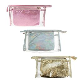 24 Units of Wholesale 2 Piece Cosmetic Bag Set In 3 Assorted Colors - Cosmetic Cases