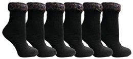 6 Units of Yacht&smith Ruffle Slouch Socks For Women, Unique Frilly Cuff Fashion Trendy Ankle Socks (6 Pair Black Glitter Cuff) - Womens Crew Sock