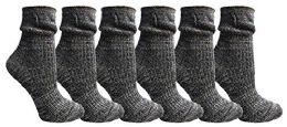 6 Units of Yacht&smith Ruffle Slouch Socks For Women, Unique Frilly Cuff Fashion Trendy Ankle Socks (6 Pair Navy Combo) - Womens Crew Sock