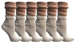 6 Units of Yacht&smith Ruffle Slouch Socks For Women, Unique Frilly Cuff Fashion Trendy Ankle Socks (6 Pair White Slouch Combo) - Womens Crew Sock