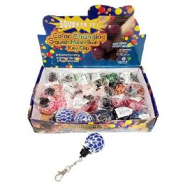24 Units of MINI COLOR CHANGING MESH BALL KEYCHAIN - Slime & Squishees